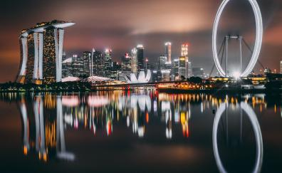Singapore skyscrapers buildings night city