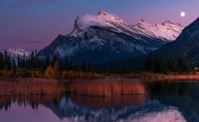 Vermillion lakes banff national park moon 4k