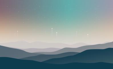 Landscape, minimal, stars, mountains, horizon, digital art