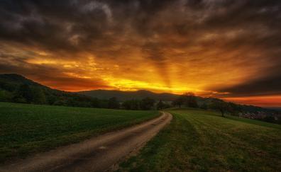 Sunset, clouds, sky, landscape