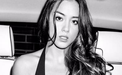 Chloe bennet, actress, celebrity, monochrome