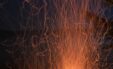 Fire flame sparks glow smoke 5k