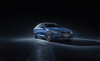 Bmw 5 series luxury blue car