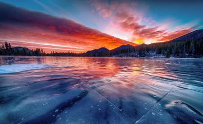 Frozen lake sunset winter nature
