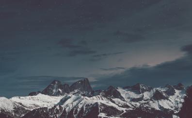 Snow mountians night starry sky