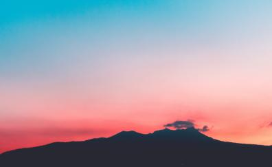 Sunset, sky, skyline, mountains, beautiful