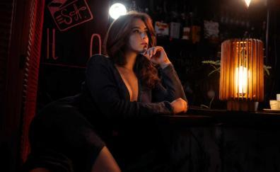 Woman model, hot, lantern