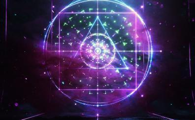 Elements process dark atmospheric triangles circles geometric