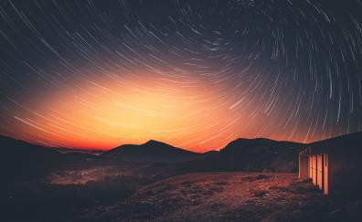Sunset milky way star trail dusk 5k