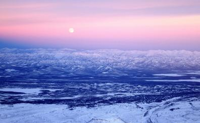 Volcano mountains pink sunset