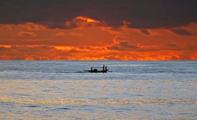 Sunset, clouds, fishing, sea, sky, skyline
