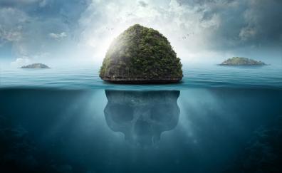 Sea island fantasy skull