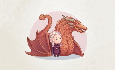 Dragon, Queen, Khaleesi, cartoon, artwork, game of thrones, minimal