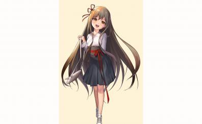 Cute happy anime girl minimal