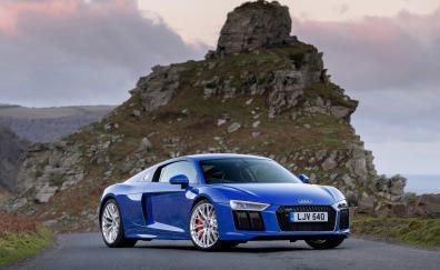 2018 audi r8 v10 blue front