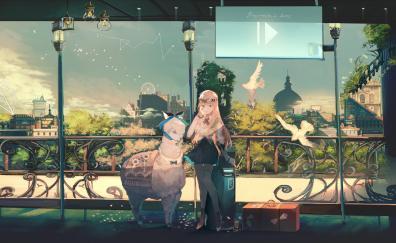 Anime girl, travel, original
