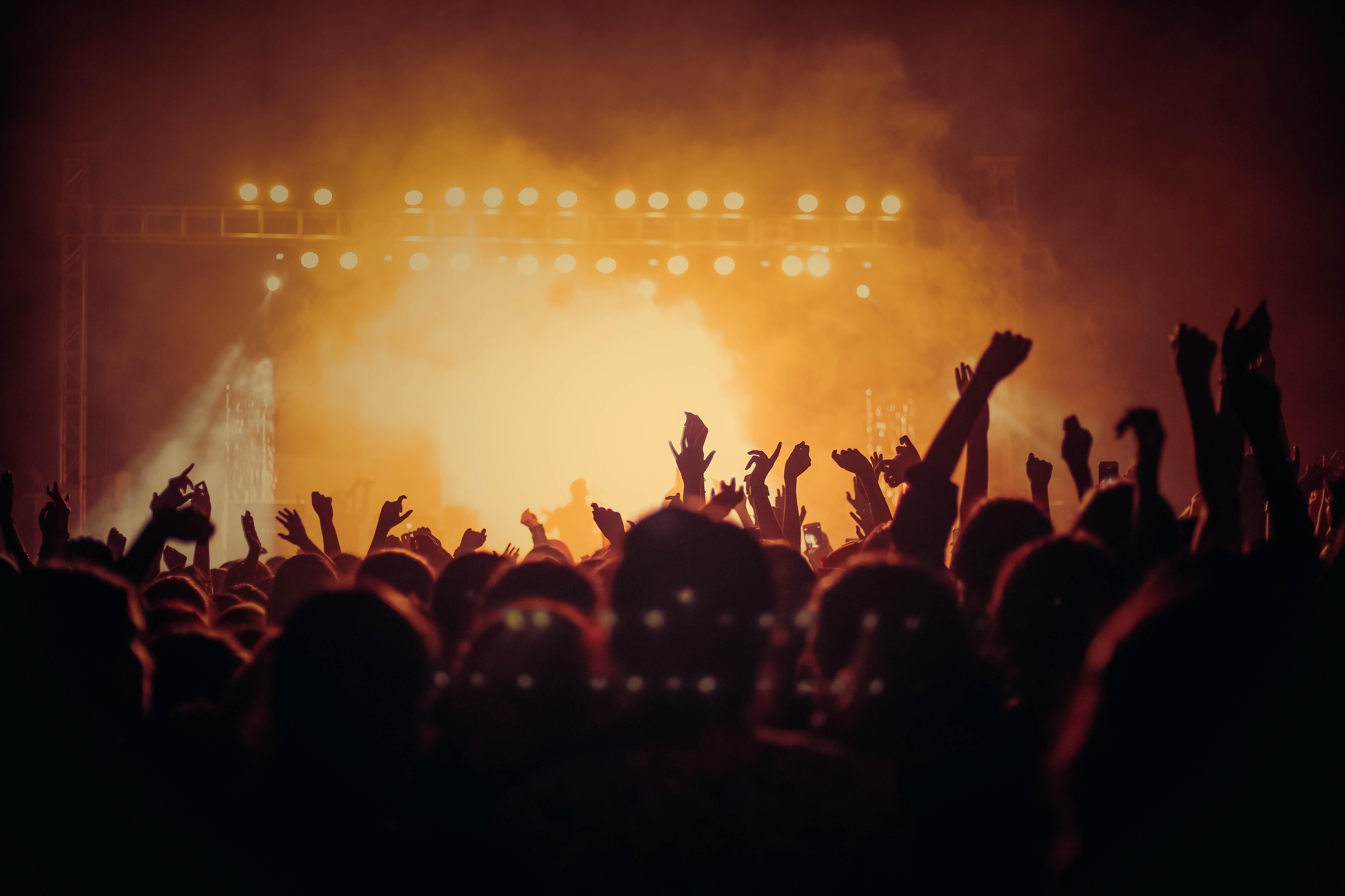 Concert hands up dark party